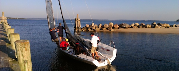 Heading out for one of the last Wednesday night races around Robins Island this season.