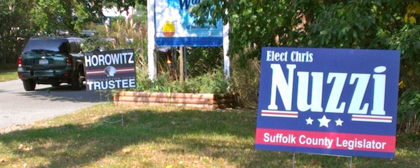 Protect yourself from making your political affiliations known! Put your campaign signs in the public right-of-way! | A public service announcement from the East End Beacon