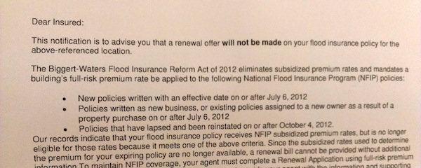 A lot of people are getting these very impersonal form letters from their flood insurance companies.