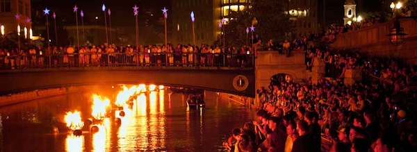 The scene on the Providence River during WaterFire
