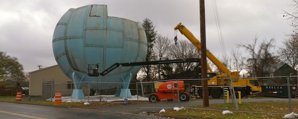 East Hampton's Hortonsphere during the early stages of demolition last month.