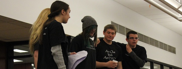 "Students from Southampton Town's ""Act Two"" theater program in a sketch that focused on acceptance of friends' mental health issues at the annual East End Mental Health Awareness Day on Saturday."