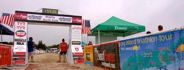 The finish line at Cedar Beach at the Mighty North Fork Triathlon