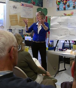 Former Waterfront Fund Chairwoman Barbara Schnitzler explained the plans for the Galley Ho at Saturday's meeting.