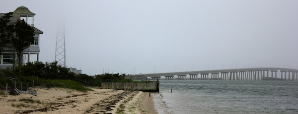 Shinnecock Bay, looking east toward the Ponquogue Bridge.