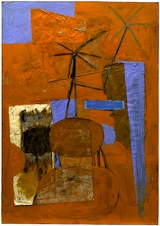 The Poet, 1947, oil and pasted papers on board