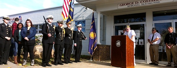 Members of the Burton Potter American Legion Post and the North Fork NJROTC celebrated the dedication of the skating rink at the legion hall on the morning of Veterans Day.