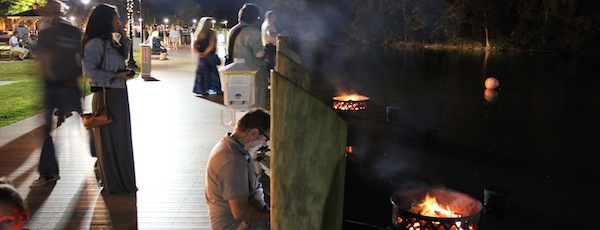 Riverhead had a trial run of Waterfires during this past summer's JumpstART! project downtown.