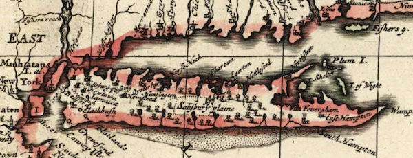 Detail of East End Long Island, 1690 Map of New England by Christopher Browne.