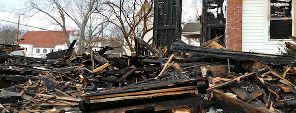 The Steinway baby grand amidst the wreckage of the First Universalist Church of Southold.