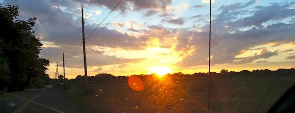 windshield sunset