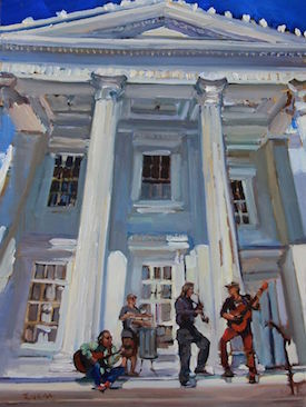 "Maryann Lucas's original painting for this year's festival, ""Musicians at the Whaling Museum"""