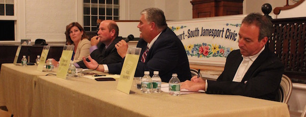 Riverhead Town Board candidates Laura Jens-Smith, Jim Wooten, Timothy Hubbard and Neil Krupnick at Thursday's debate.