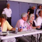 Larry Cantwell, center, at a meeting at the Montauk Firehouse in July