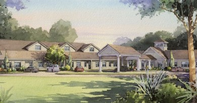 An artist's rendering of Peconic Landing's Memory Care Center, now under construction.