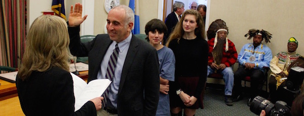 With his son Reuben and his daughter Magda and members of the Shinnecock Nation looking on, Jay Schneiderman was sworn into office as Southampton Town Supervisor Tuesday afternoon.