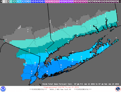 """The 5:04 p.m. update of the """"most likely snow accumulation"""" map."""