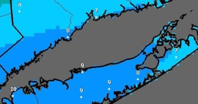 """The National Weather Service's experimental """"most likely snowfall"""" accumulation map for this weekend's storm, as of 3:37 a.m. Thursday"""