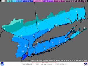 NWS maximum potential snow accumulation map generated 3:37 a.m. Jan. 21