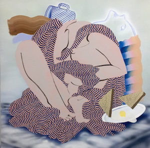 """Christian Little, Exhibitionists #13 (Breakfast in Bed), acrylic and flashe on panel, 24"""" x 24"""""""