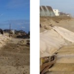 The sandbag project in downtown Montauk