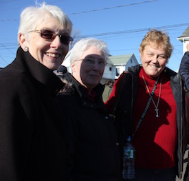 Sister Mary Beth Moore of Centro Corazon de Maria in Hampton Bays, Sister Margaret Smyth of of the North Fork Hispanic Apostolate and Southampton Town Anti-Bias Task Force co-chair Dianne Rulnick