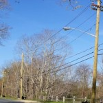 New poles with more narrow cross braces, like these in Mattituck, are being installed all across PSEG-Long Island's service area.
