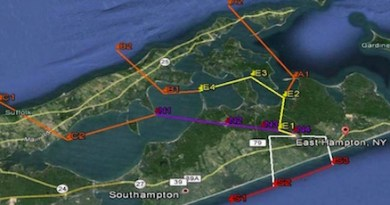 Instead of one transition point over Mattituck Inlet, the Eastern Region Helicopter Council has pitched three throughout Southold Town this year.