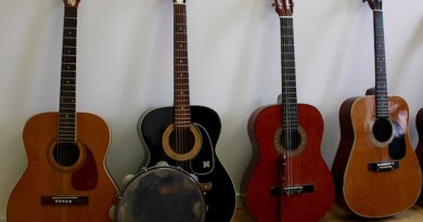 Guitars collected at the John Jermain Memorial Library