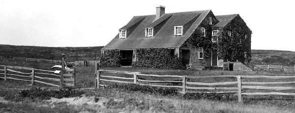 Second House, covered in vines, in a photo from the Montauk Historical Society's archives.