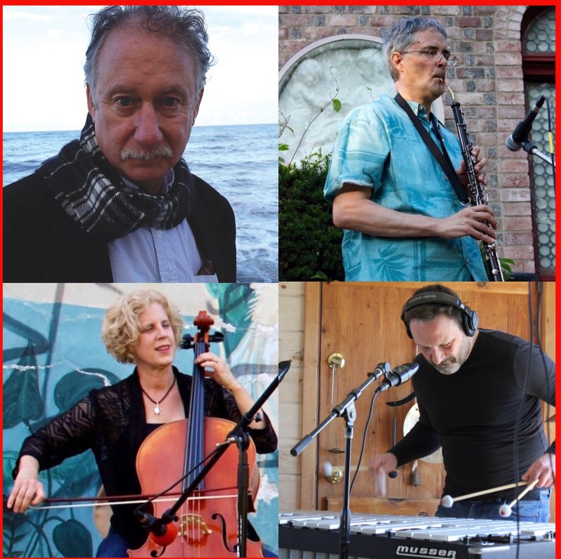 The Hidden City core quartet of George Cork Maul on piano, Terry Keevil on oboe, vibraphonist Fabrizio D'Antonio and cellist Jeannie Woelker.