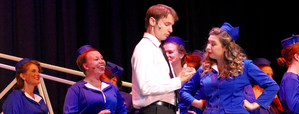 """Bobby Peterson as Frank Abagnale, Jr., with the Jet Set in RFCT's new production of """"Catch Me If You Can."""""""