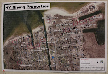 Southampton Town's map of New York Rising properties in Flanders that now belong to the town.