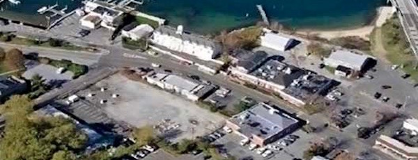 The site of Sag Harbor's Hortonsphere on Bridge Street is now a vacant lot.