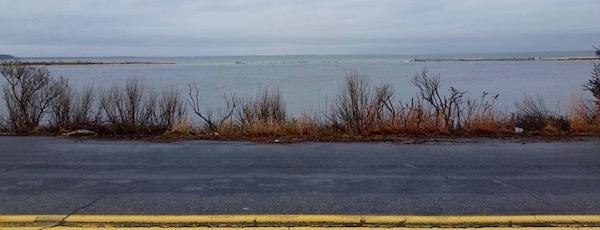 Tuesday morning's bay breach into Downs Creek, Cutchogue.
