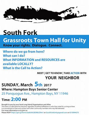 The poster for the South Fork Grassroots Town Hall for Unity.