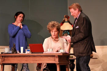 "Michelle Corbett as Tess, Susan Hedges as Margot and Kyle Cranston as Theo in NFCT's production of ""The Female of the Species."""