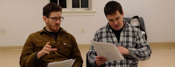 """Sawyer Spielberg and Eric Svendsen at a read-through of their new production of """"Extinction"""" at Guild Hall."""