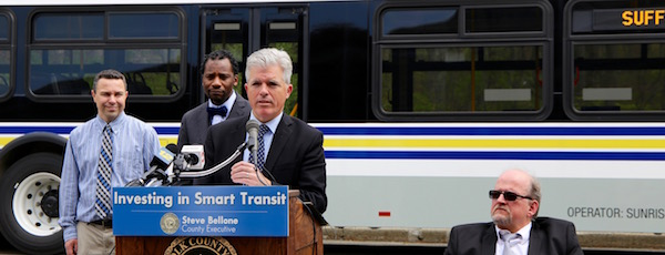Suffolk County Executive Steve Bellone announced Monday that half of the county's buses will be switched out for hybrid buses, paid for mostly by federal and state grants.