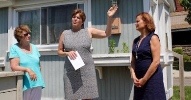 Democratic Riverhead Town Board candidates Michele Lynch, Laura Jens-Smith and Catherine Kent kicked off a walking tour of downtown Riverhead Tuesday at the town's locked visitor information center.