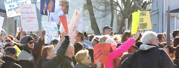 Donald Trump drew angry crowds both for and against his candidacy when he came to Patchogue in April 2016,, before he was the presumptive presidential nominee.