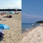 Founder's Landing on the Peconic Bay in Southold at left, Kenney's Beach in Southold on the Long Island Sound, right.   Jennifer Luke photos