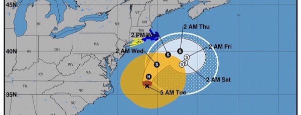 The National Hurricane Center's Sept. 19 Forecast Cone for Hurricane José.
