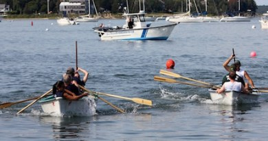 The Sag Harbor Express whaleboat team were the champions at yesterday's HarborFest whaleboat races.