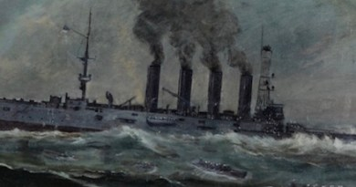 """USS San Diego (Armored Cruiser No. 6)"" at her sinking, by Francis Muller, 1920 