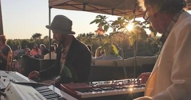 Playing original music in the vineyards.