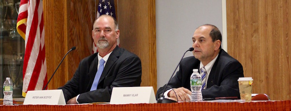 East Hampton Town Supervisor candidates Peter Van Scoyoc and Manny Vilar