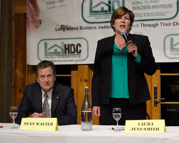 Riverhead Town Supervisor Sean Walter and town supervisor candidate Laura Jens-Smith at the Oct. 26 debate.
