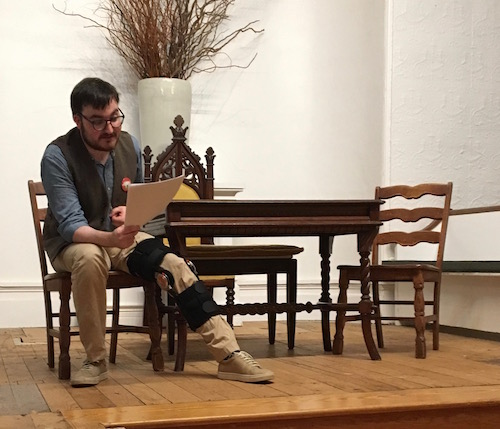 Colin Palmer rehearses for Richard III at the Jamesport Meeting House