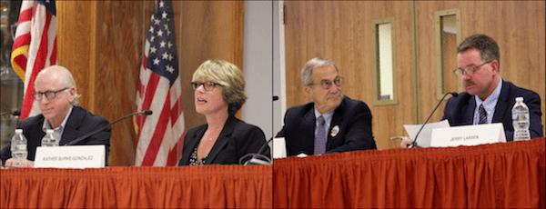 East Hampton Town Board candidates Jeff Bragman, Kathee Burke-Gonzalez, Paul Giardia and Jerry Larsen.